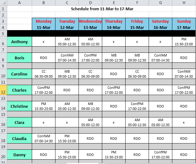 Shift Roster Kleobeachfixco - Retail scheduling template